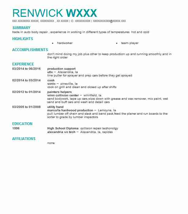Production Support Resume Sample