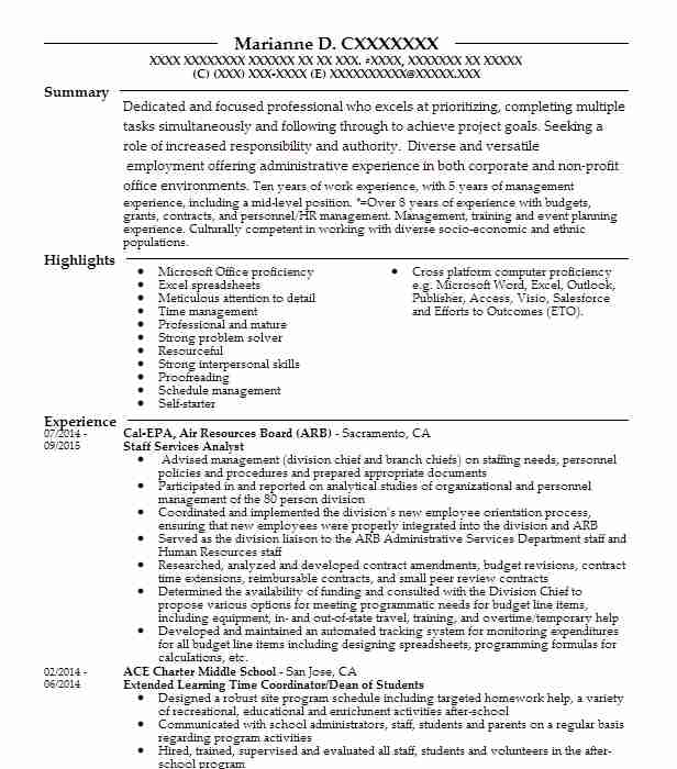 staff services analyst resume example california state