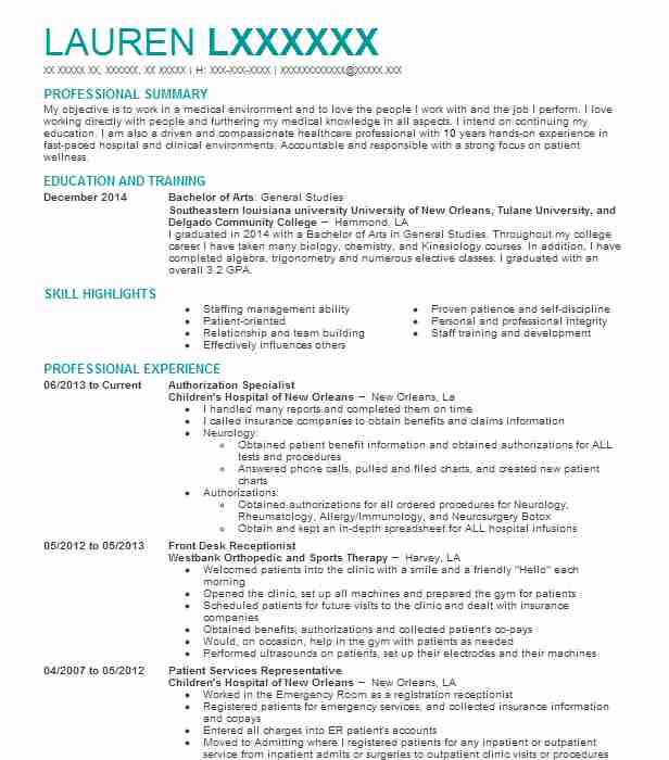 medical authorization specialist resume example simon med imaging