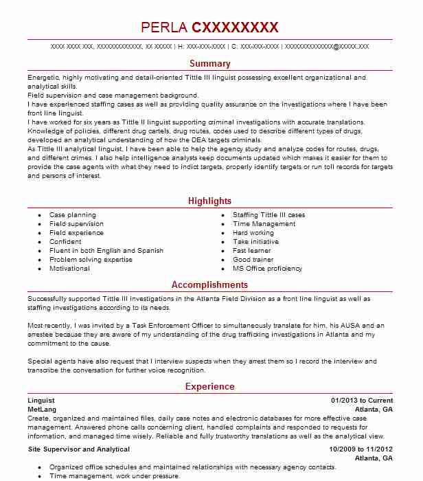 linguist resume example mission essential personnel