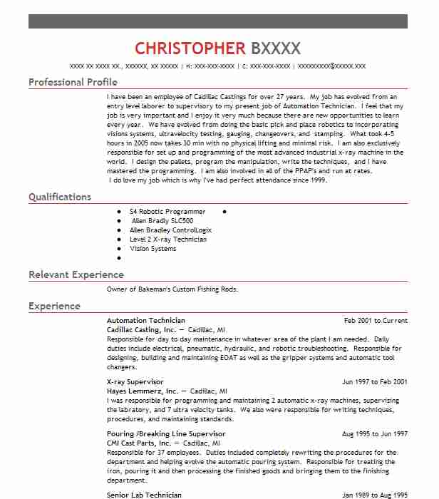 automation technician resume sample