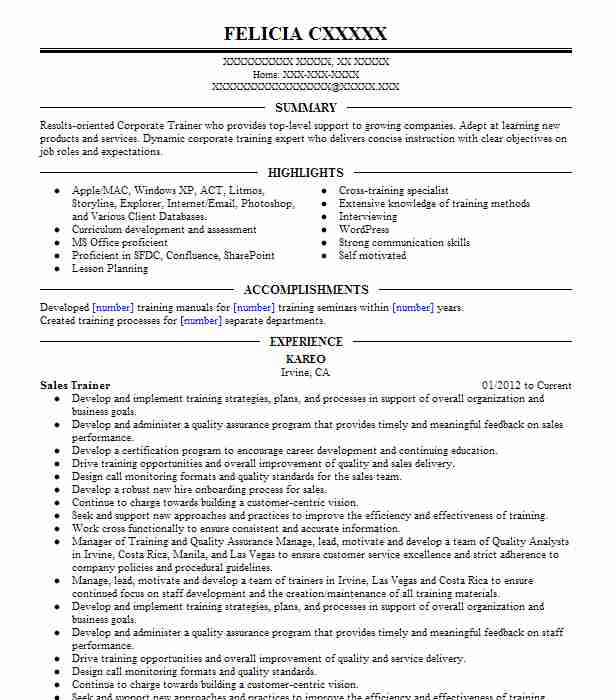 Sales Trainer Resume Sample