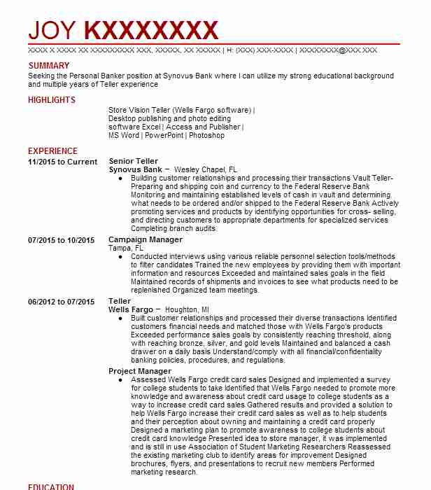 senior teller - Market Research Resume