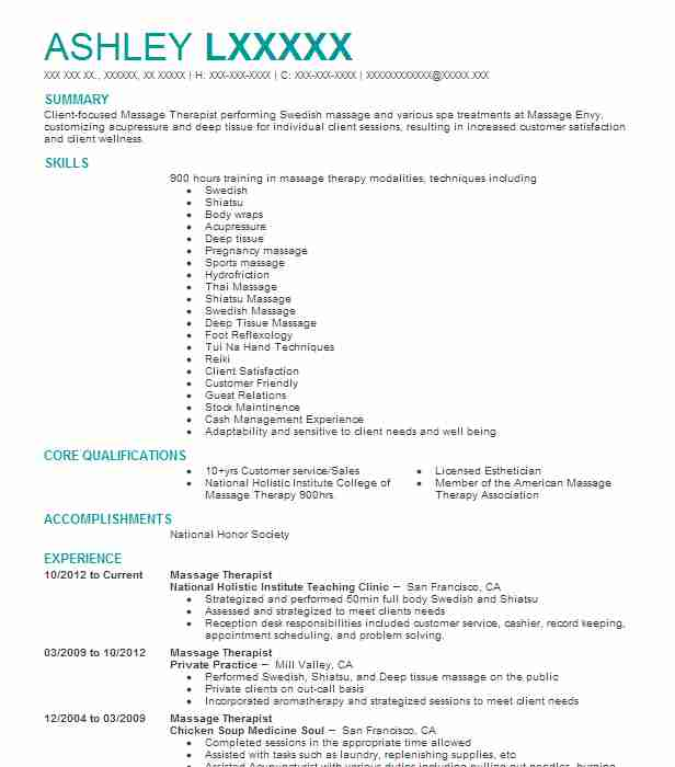 1318 Massage Therapy (Beauty And Spa) Resume Examples in California ...