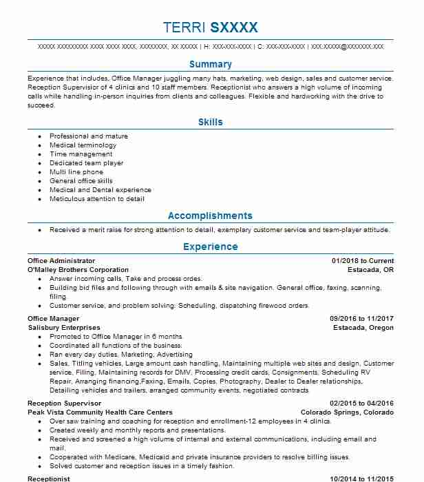 office manager - Logistics Manager Resume