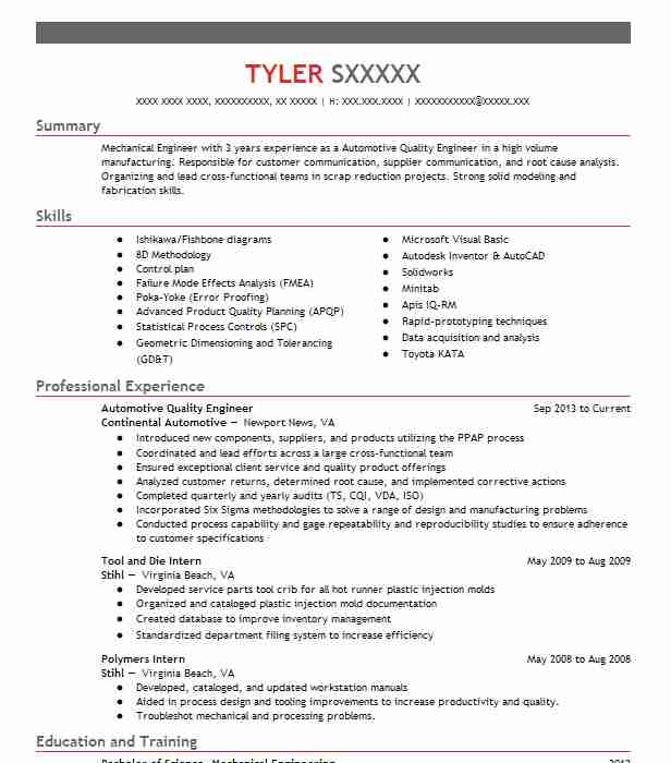Automotive Quality Engineer Resume Sample