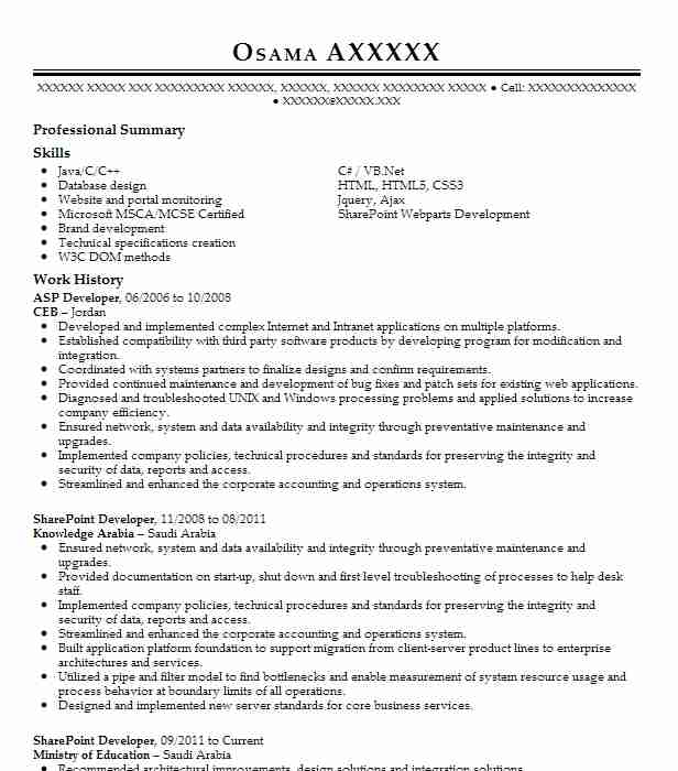 Asp Developer Resume Sample Developer Resumes Livecareer