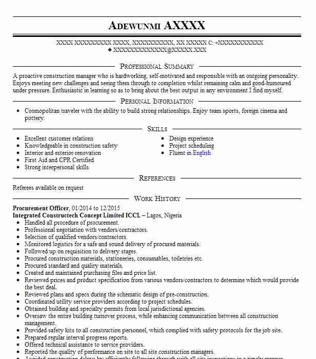 procurement officer resume sample