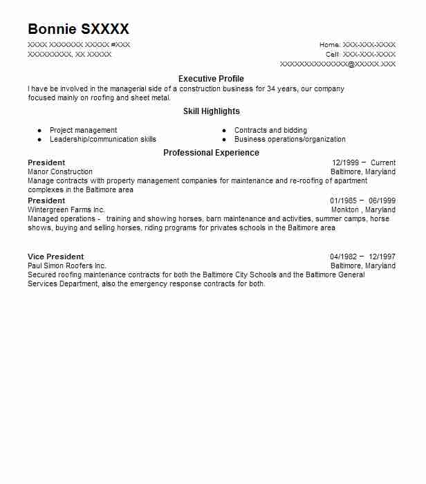 construction vice president resume