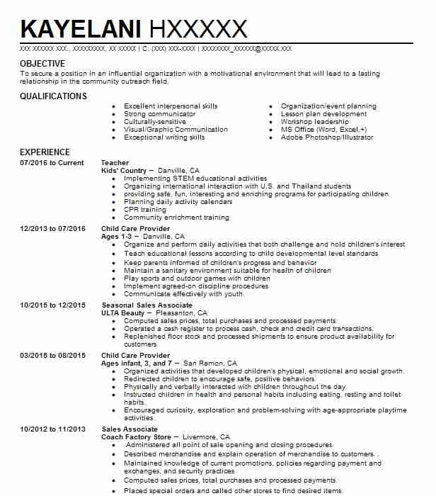 child care provider resume sample