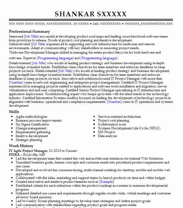 Agile Project Manager Resume Example Autodesk Inc - San
