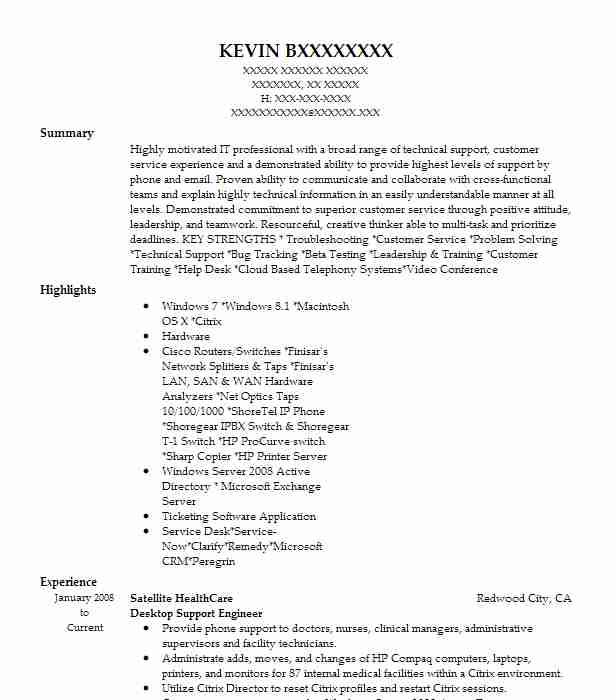 desktop support engineer resume example satellite healthcare