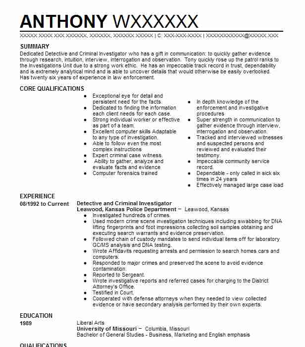 detective and criminal investigator resume sample