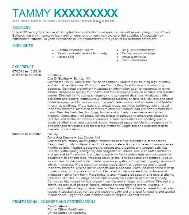 k9 officer resume sample