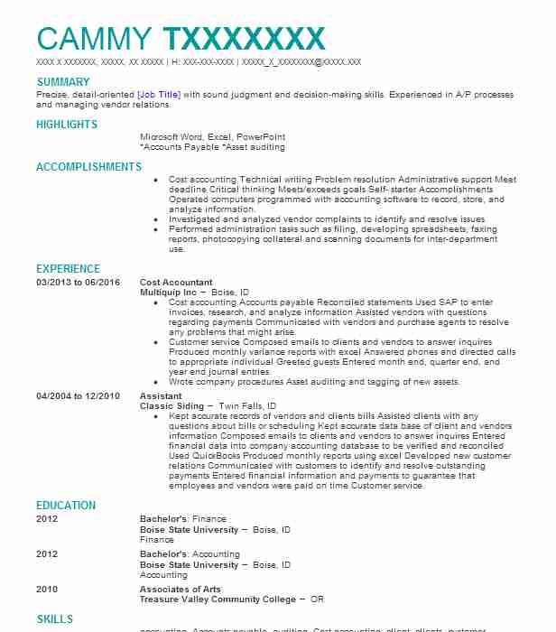 cost accountant resume sample