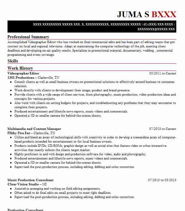 videographer editor resume sample