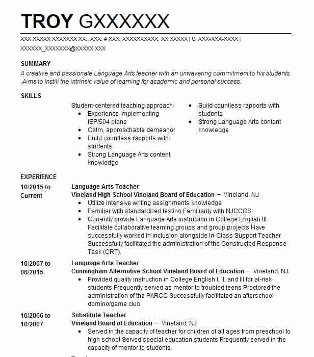 Language Arts Teacher  Architecture Student Resume