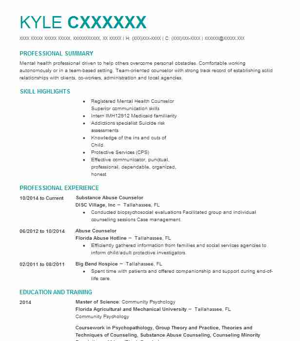 substance abuse counselor resume sample