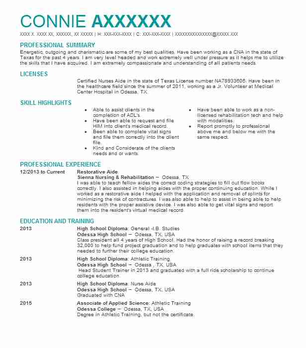 cna  restorative aide resume example oasis health