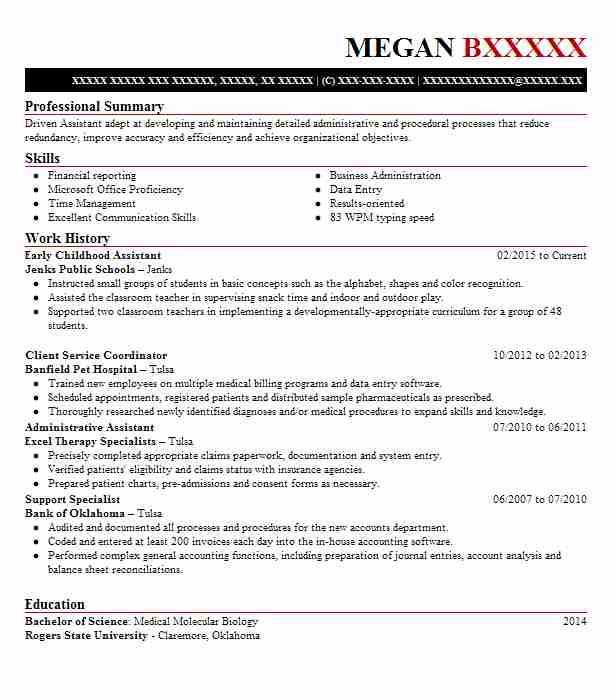 early childhood assistant resume sample