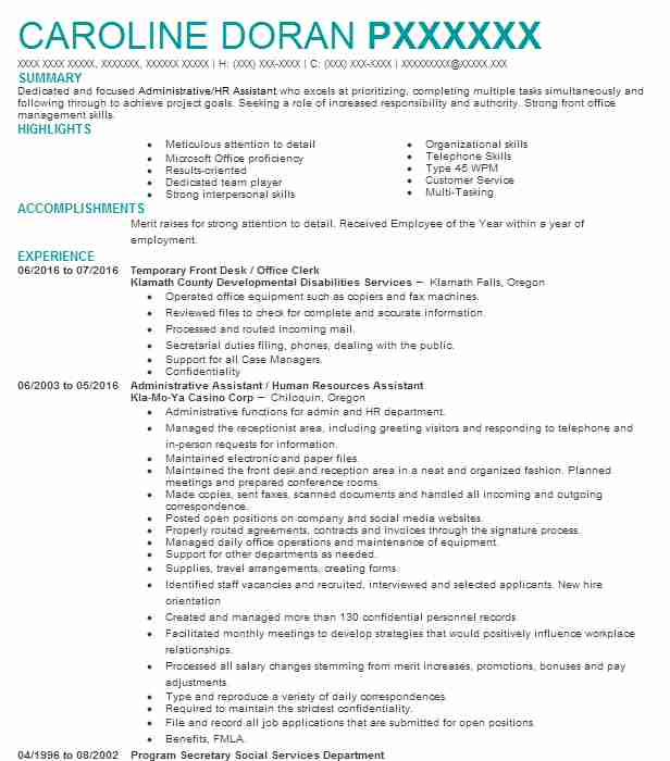 social and human service assistant resume sample