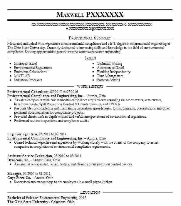environmental consultant resume sample