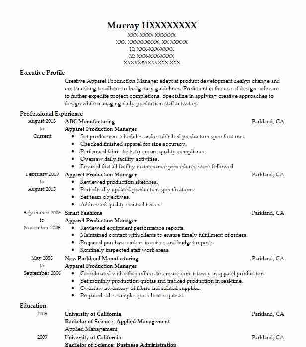 Apparel Production Manager Resume Example Livecareer