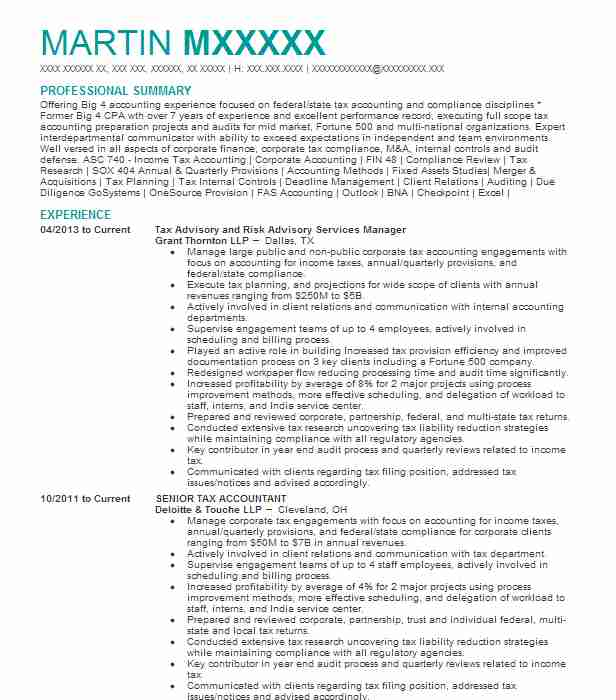 Senior Tax Accountant Resume Example Ernst And Young Llp