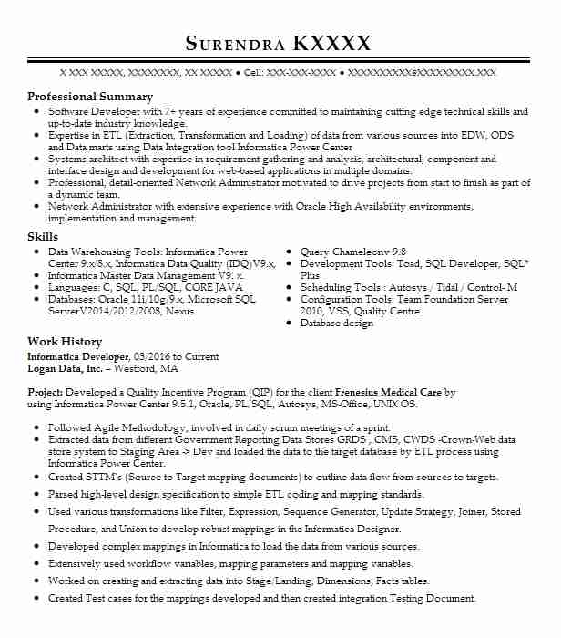 informatica developer resume sample