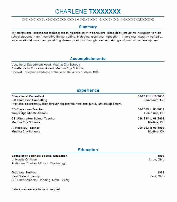 Educational Consultant Resume Sample Consultant Resumes Livecareer