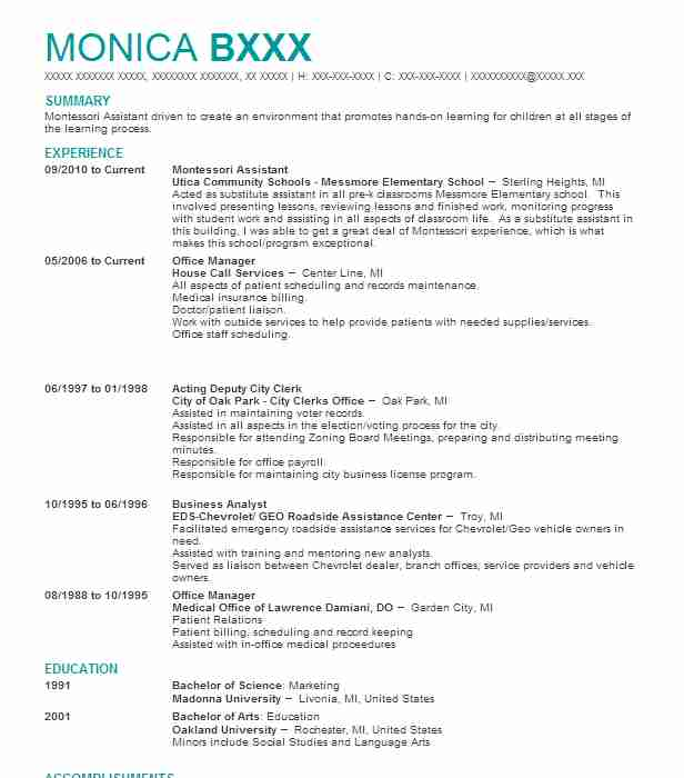 Montessori Teacher Assistant Resume Example Chicago Board Of