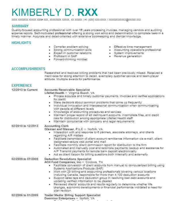Accounts Receivable Specialist Resume Sample