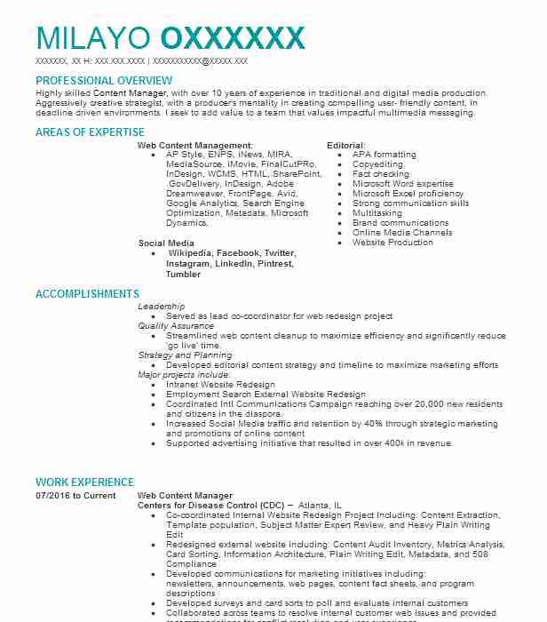web content manager resume sample