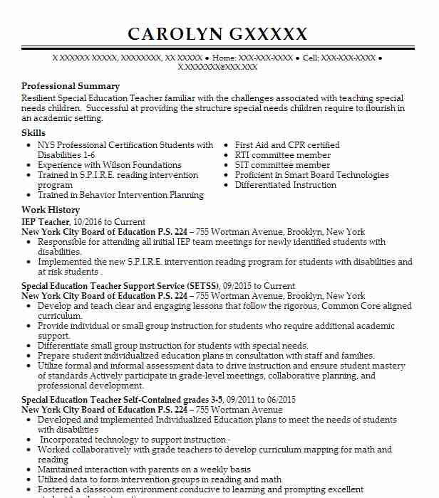 iep teacher resume example department of education