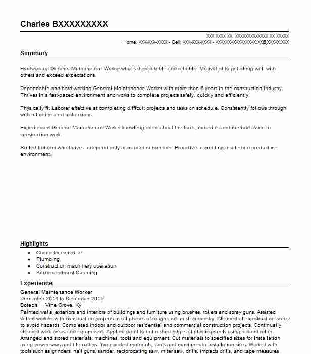 general maintenance worker resume sample worker resumes livecareer