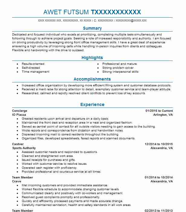 concierge resume objectives resume sample