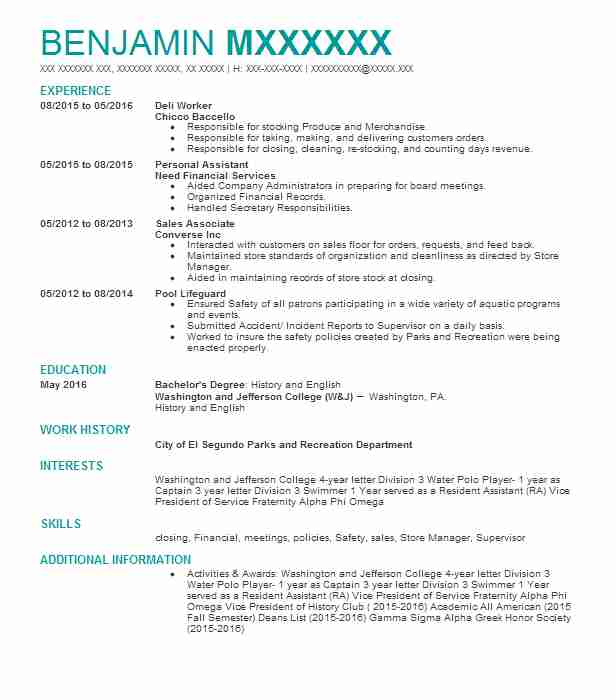 deli worker resume sample