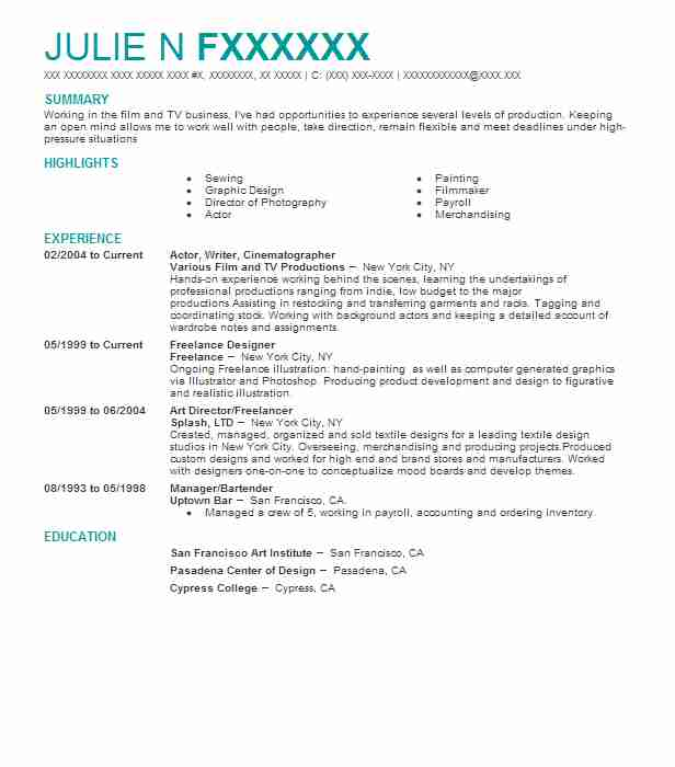 61 cinematography resume examples in new york livecareer