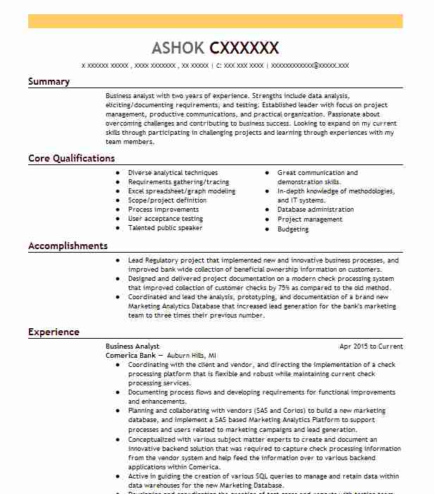 Business Analyst Resume Example Comerica Bank Princeton Junction