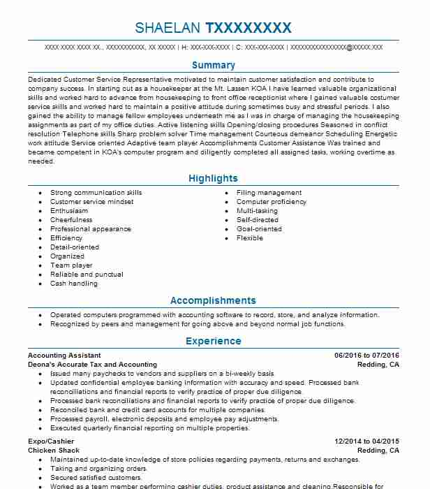 accounting assistant objectives