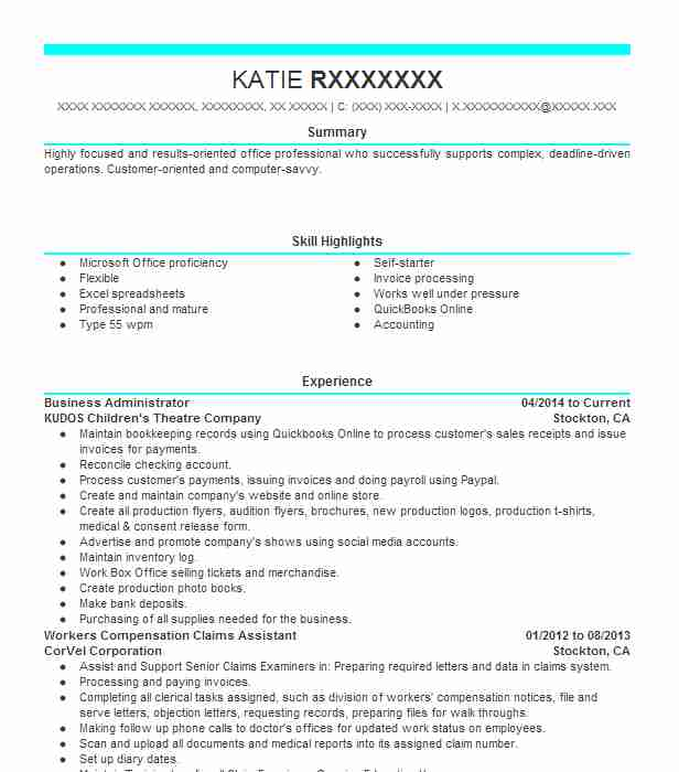 Business Administrator Objectives Resume Objective Livecareer