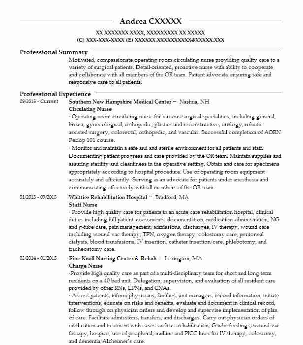 Medical Surgical Nurse Resume Sample: Circulating Nurse Resume Sample