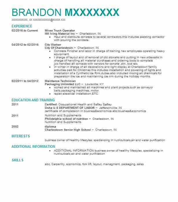 hod carrier resume example  sellers masonry