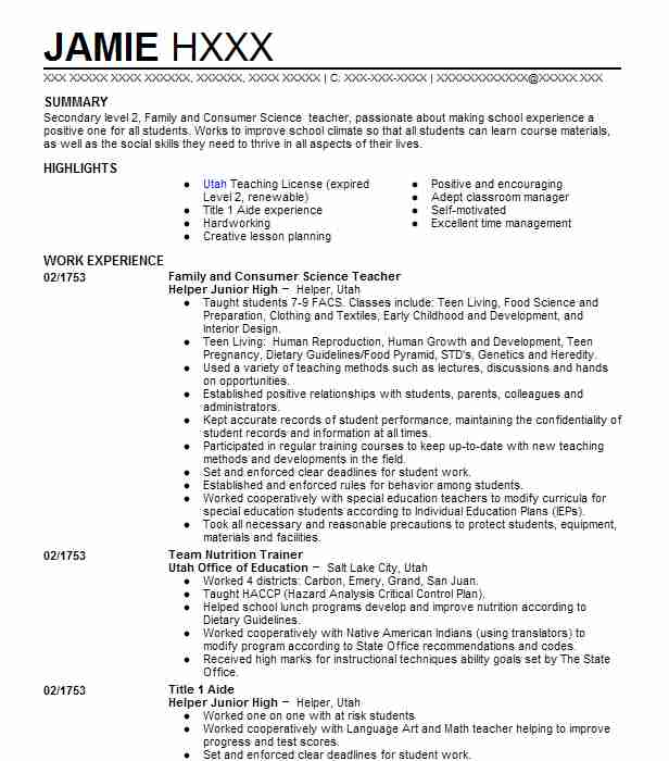 Family And Consumer Science Teacher Resume Sample