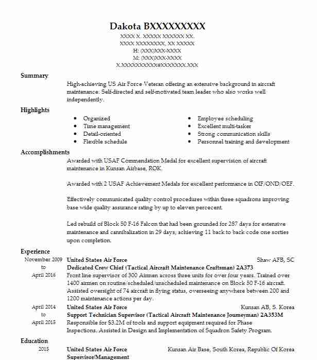 tactical aircraft maintenance crew chief resume example