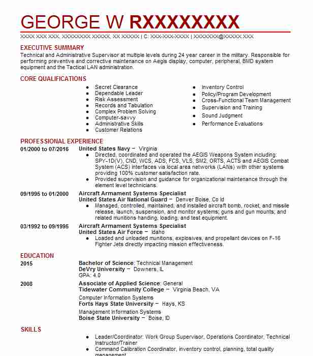 armament systems technician resume example united states