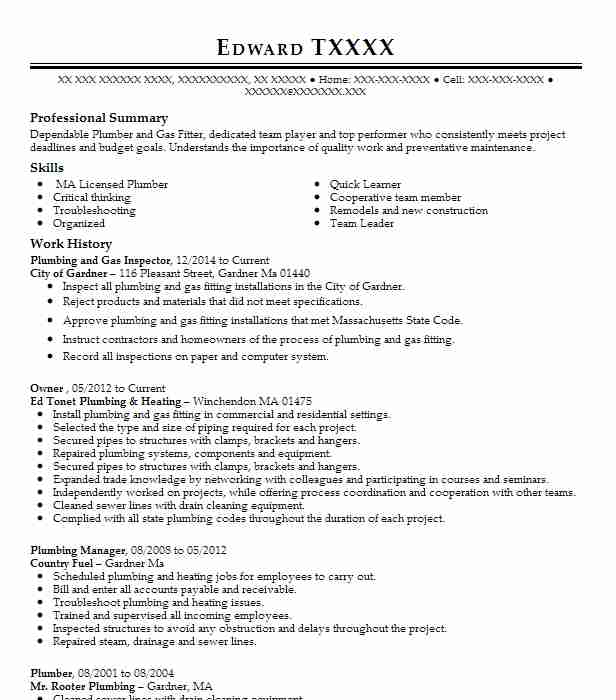 project engineer  plumbing inspector resume example ashokan