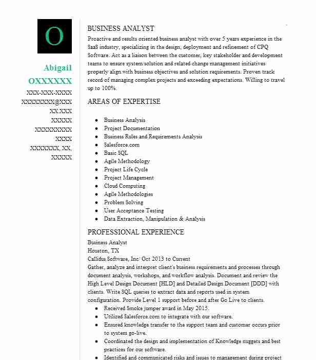 resume objective for business analyst