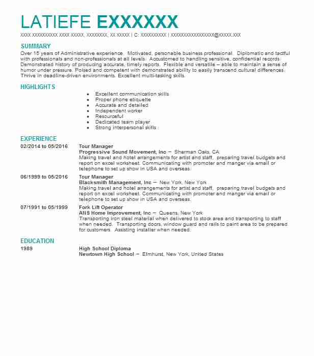 tour manager resume sample
