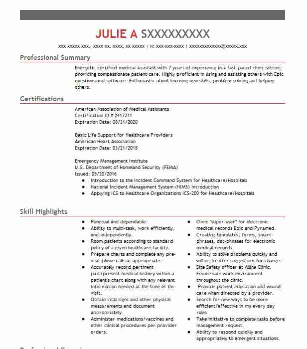 Certified Medical Assistant Floater Resume Example Floyd